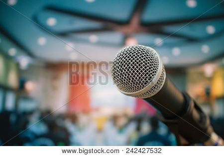 Seminar Conference Concept : Microphones For Speech Or Speaking  In Seminar Room, Talking For Lectur