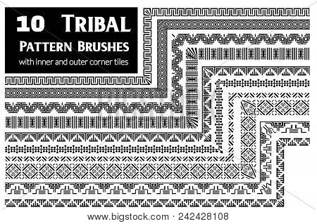 Tribal, Ethnic Vector Pattern Brushes With Inner And Outer Corner Tiles. Perfect For Creating Design