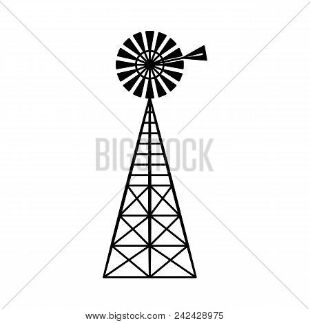 Classic Vintage Windmill Turbine Technology Isolated On White Background - Traditional Farm Equipmen
