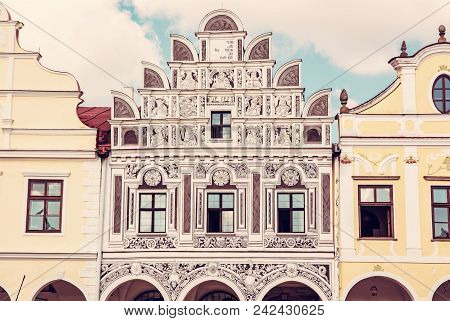 Close Up Photo Of The Famous 16th-century Houses In Telc, Czech Republic. Architectural Scene, Unesc