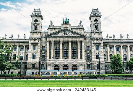 Ethnographic Museum Building And Old Tramway, Budapest, Hungary. Cultural Heritage. Travel Destinati
