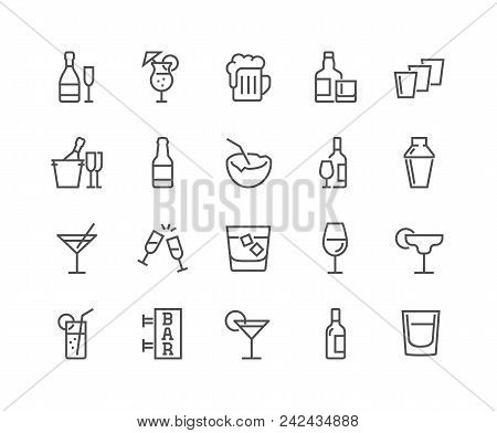 Simple Set Of Alcohol Related Vector Line Icons. Contains Such Icons As Champagne, Whisky, Cocktail,