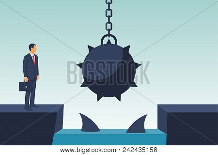 Businessman obstacle concept. Hurdle on way. Business risk. Overcoming obstacle on road with floating predatory sharks. Way to success. Vector illustration flat design. Barrier on way to success. poster