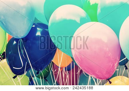 Balloons Party. Funny Symbolic Objects. Leisure Activity. Colorful Balloons Background. Vibrant Colo