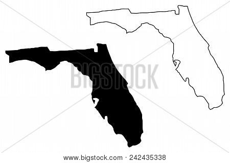 Florida Map Vector Illustration, Scribble Sketch Florida Map