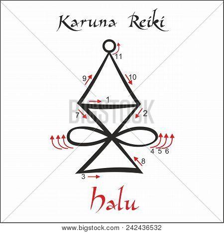 Karuna Reiki. Energy Healing. Alternative Medicine. Halu Symbol. Spiritual Practice. Esoteric. Vecto