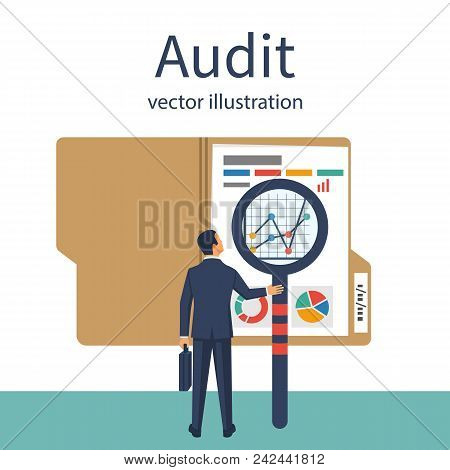 Auditing Concepts. Auditor With Magnifying Glass In Hand During Examination Of Financial Report. Tax