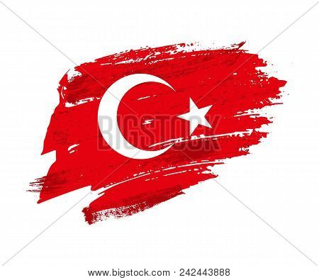 Vintage Turkish Flag Illustration. Vector Turkish Flag On Grunge Texture