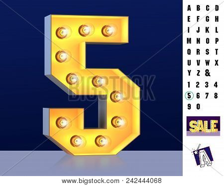 Numeral 5 Five From Alphabet. Glowing Digit 5. Bulb Type 5. 3d Illuminated Light Bulb Symbol Number