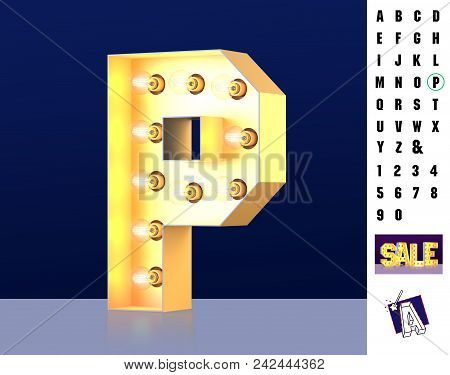 Letter P From Alphabet. Glowing Letter P. Bulb Type P. 3d Illuminated Light Bulb Symbol Letter P. Re