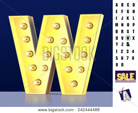 Letter W From Alphabet. Glowing Letter W. Bulb Type W. 3d Illuminated Light Bulb Symbol Letter W. Re