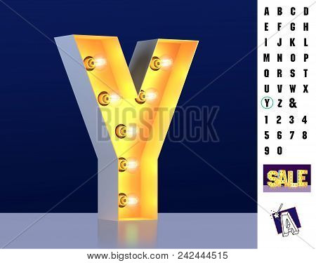 Letter Y From Alphabet. Glowing Letter Y. Bulb Type Y. 3d Illuminated Light Bulb Symbol Letter Y. Re