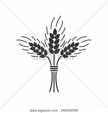 Black Isolated Silhouette Icon Of Sheaf Of Wheat On White Background. Icon Of Sheaf Of Wheat