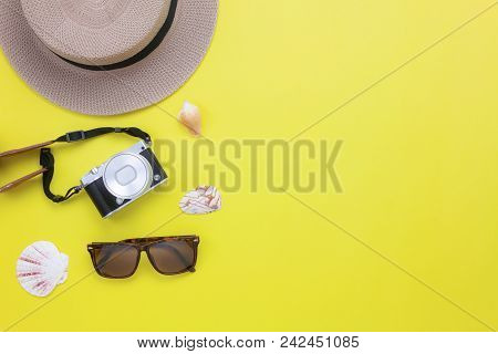 Table Top View Aerial Image Of Summer & Clothing Travel Beach Holiday In The Season Background Conce