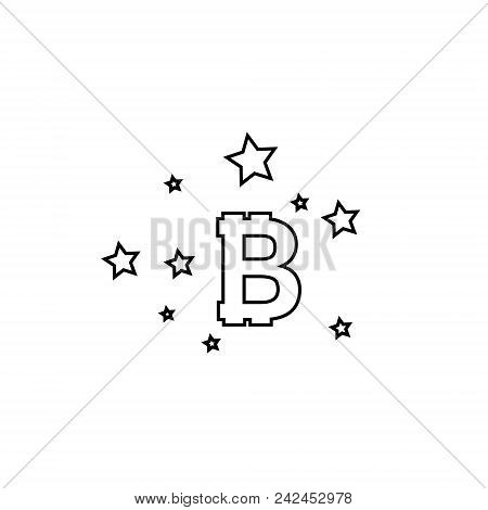Bitcoin Coin With Stars. Abstract Falling Bitcoin- Black Shooting Bitcoin With Elegant Star Trail On