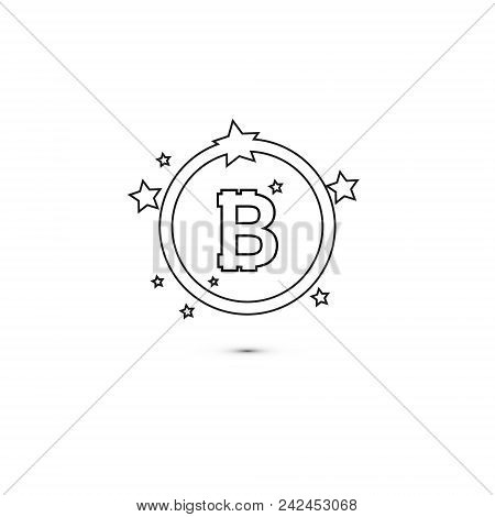 Bitcoin Coin With Stars And Circle. Abstract Falling Bitcoin- Black Shooting Bitcoin With Elegant St
