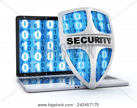 Abstract Shield Antivirus And Laptop. 3d Illustration