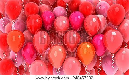 Many Balloons Red Fly Background .3d Illustration