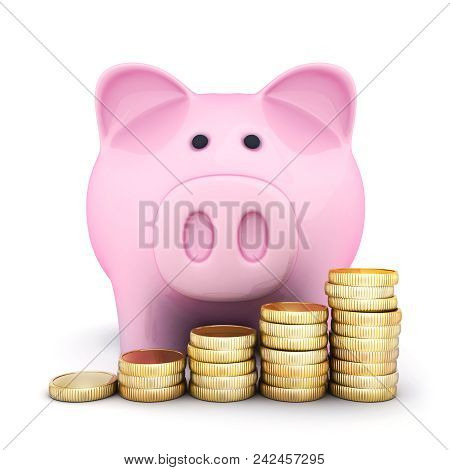 Pink Piggy Bank And Coins. 3d Illustration
