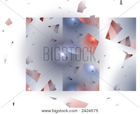 Abstract Shattered Glass Image In Blue And Red