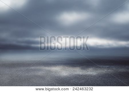 Creative Road On Dull Sky Background. Way To Success Concept