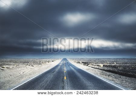 Creative Road On Dull Sky Wallpaper. Way To Success Concept