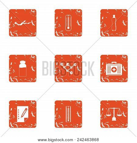 Recovery professional icons set. Grunge set of 9 recovery professional vector icons for web isolated on white background poster