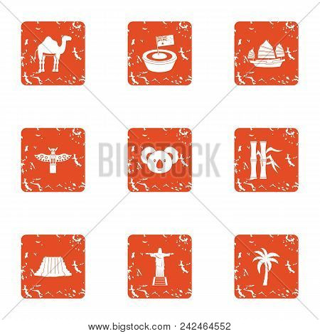American Continent Icons Set. Grunge Set Of 9 American Continent Vector Icons For Web Isolated On Wh