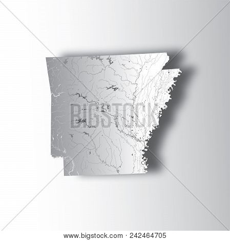 U.s. States - Map Of Arkansas With Paper Cut Effect. Hand Made. Rivers And Lakes Are Shown. Please L