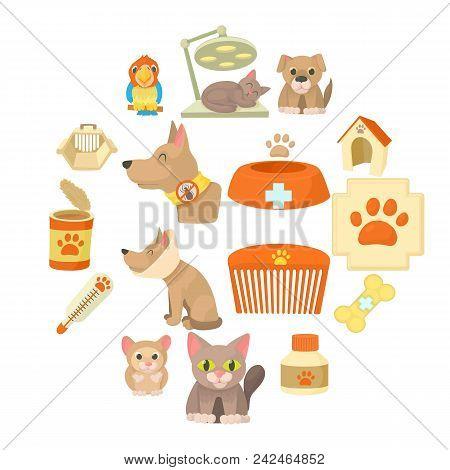 Veterinary Clinic Items Icons Set. Cartoon Illustration Of 16 Veterinary Clinic Items Vector Icons F