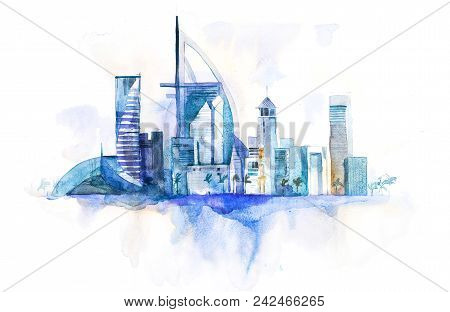 Skyline Of Dubai Cityscape Landmark Skyline. Watercolor Illustration.
