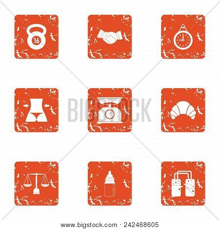 Physical Exertion Icons Set. Grunge Set Of 9 Physical Exertion Vector Icons For Web Isolated On Whit