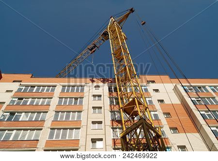 Facade Of New Multi-apartment High-rise Apartment Building. Construction Of New Modern Multi-apartme