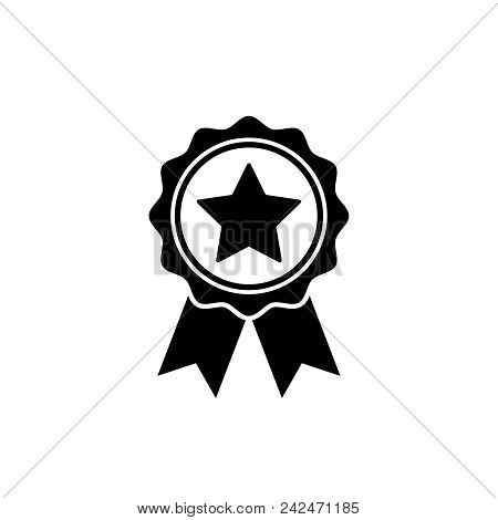 Award Medal Icon In Flat Style. Rosette Symbol Isolated On White Background Simple First Place Award