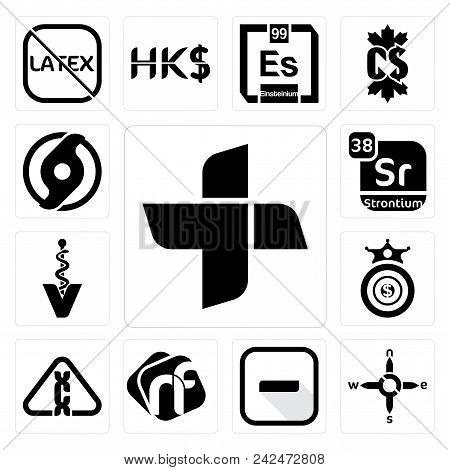Set Of 13 Simple Editable Icons Such As Plus, N S E W, Hyphen, Nf, Carcinogen, Oligarchy, Veterinary