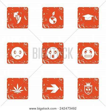 Defensive Anger Icons Set. Grunge Set Of 9 Defensive Anger Vector Icons For Web Isolated On White Ba