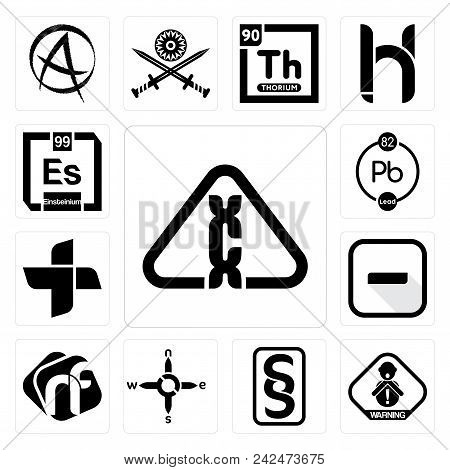 Set Of 13 Simple Editable Icons Such As Carcinogen, Choking Hazard, Paragraf, N S E W, Nf, Hyphen, P