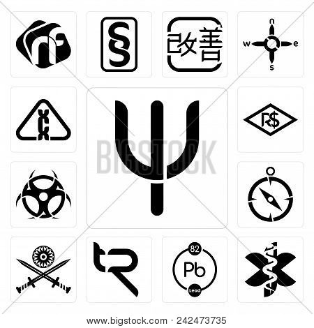 Set Of 13 Simple Editable Icons Such As Psi, Paramedic, Chemical, Tr, Indian Army, Compas, Contagion
