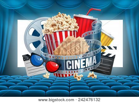 Cinematograph Concept Banner Design Template With Glowing Screen, Popcorn And Other Elements On Cine