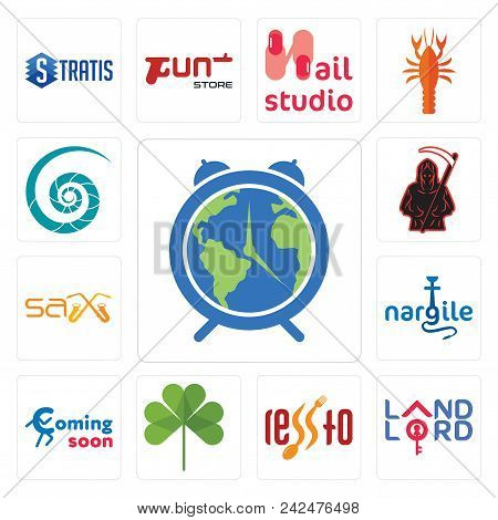 Set Of 13 Simple Editable Icons Such As Earth Hour, Landlord, , Three Leaf Clover, Coming Soon, Narg