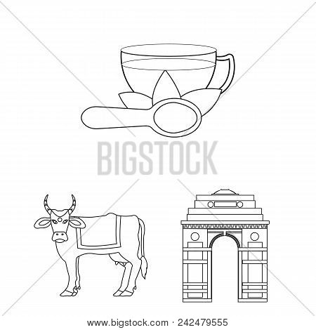 Country India Outline Icons In Set Collection For Design.india And Landmark Vector Symbol Stock  Ill
