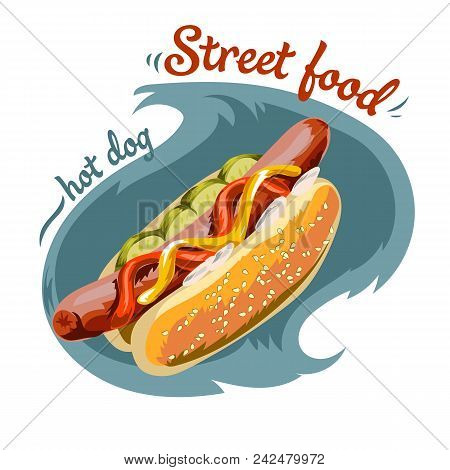 Appetizing Hot Dog - Sausage In A Dough With Lettuce And Mustard. Vector Illustration On White Backg