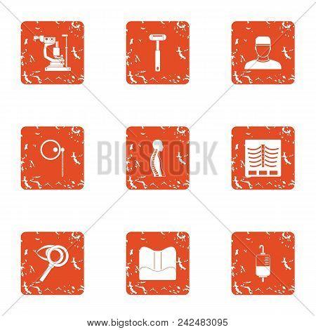 Pharmaceutical Icons Set. Grunge Set Of 9 Pharmaceutical Vector Icons For Web Isolated On White Back