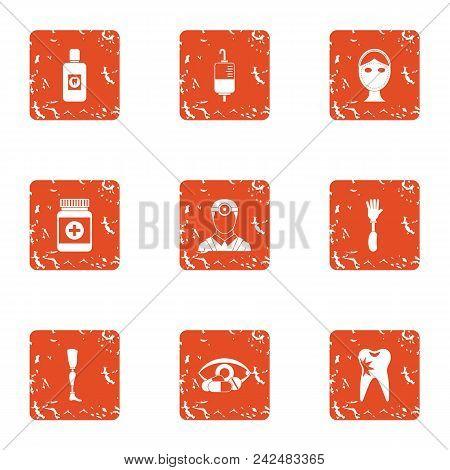 Pharmaceutical Production Icons Set. Grunge Set Of 9 Pharmaceutical Production Vector Icons For Web