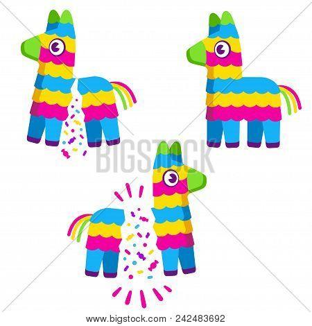 Cute Colorful Cartoon Pinata. Broken With Confetti And Candy. Birthday Celebration Vector Illustrati