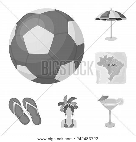 Country Brazil Monochrome Icons In Set Collection For Design. Travel And Attractions Brazil Vector S