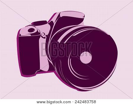 Slr Camera, Logo Style In Pink Tones On A Light Background