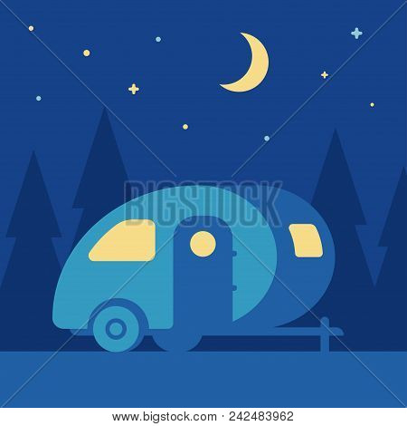 Night Outdoor Landscape With Retro Camper Trailer In Woods. Cute Vintage Mobile Home Camping Scene,