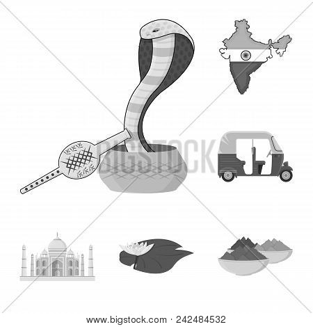 Country India Monochrome Icons In Set Collection For Design.india And Landmark Vector Symbol Stock