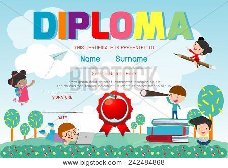 Certificates Kindergarten And Elementary, Preschool Kids Diploma Certificate Pattern Design Template